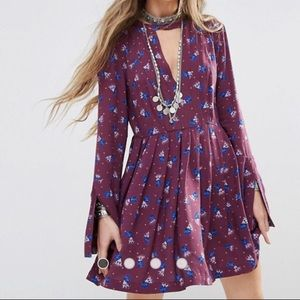 Free People Printed Mini Dress Purple Size 2